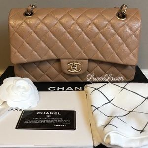 Authentic Chanel 18S ML beige Classic double flap